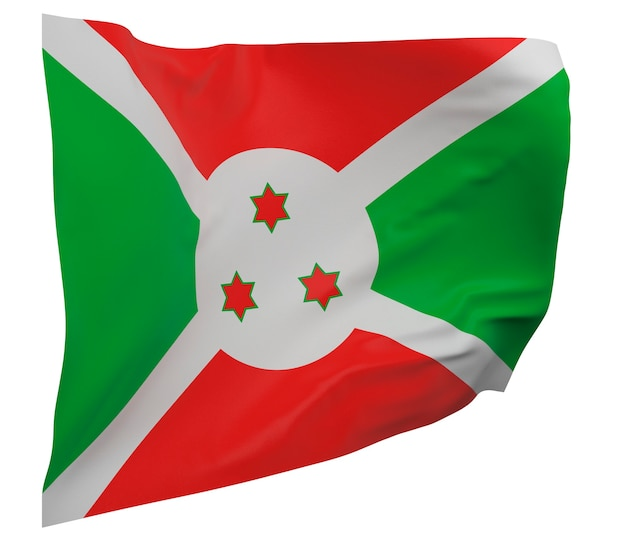 Flaga burundi na białym tle. macha sztandarem. flaga narodowa burundi