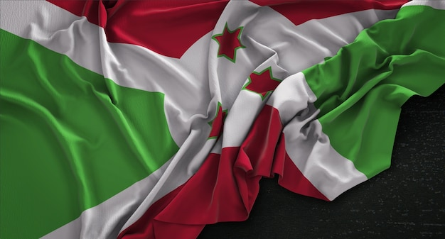 Flaga burundi zmarszczki na ciemnym tle renderowania 3d