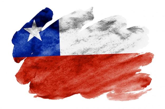 Flaga chile jest przedstawiona w płynnym stylu akwareli na białym tle