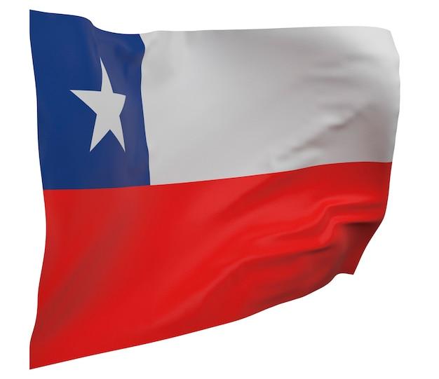 Flaga chile na białym tle. macha sztandarem. flaga narodowa chile