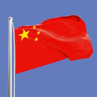 Flaga chińskiej republiki ludowej na maszcie machającym na wietrze na białym tle na tle błękitnego nieba