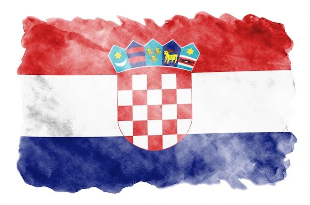 Flaga chorwacji jest przedstawiona w płynnym stylu akwareli na białym tle