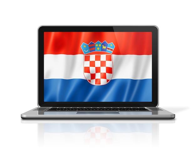 Flaga chorwacji na ekranie laptopa na białym tle. renderowanie 3d ilustracji.