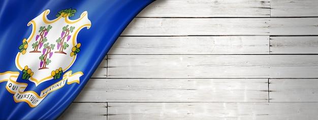 Flaga connecticut na białym banerze ściennym z drewna, usa. ilustracja 3d