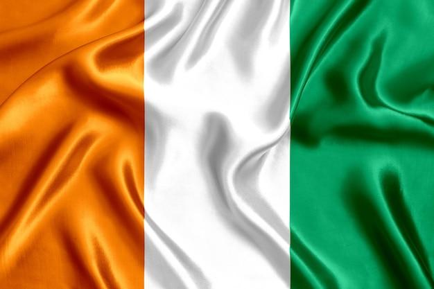 Flaga côte d 'ivoire jedwabny szczegół tło