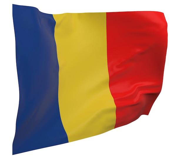 Flaga czadu na białym tle. macha sztandarem. flaga narodowa czadu