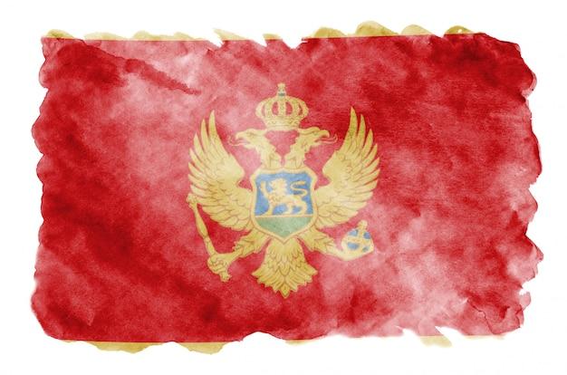 Flaga czarnogóry jest przedstawiona w płynnym stylu przypominającym akwarele na białym tle