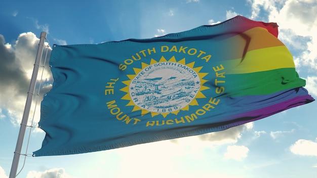Flaga dakoty południowej i lgbt. dakota południowa i mieszana flaga lgbt macha na wietrze. renderowanie 3d