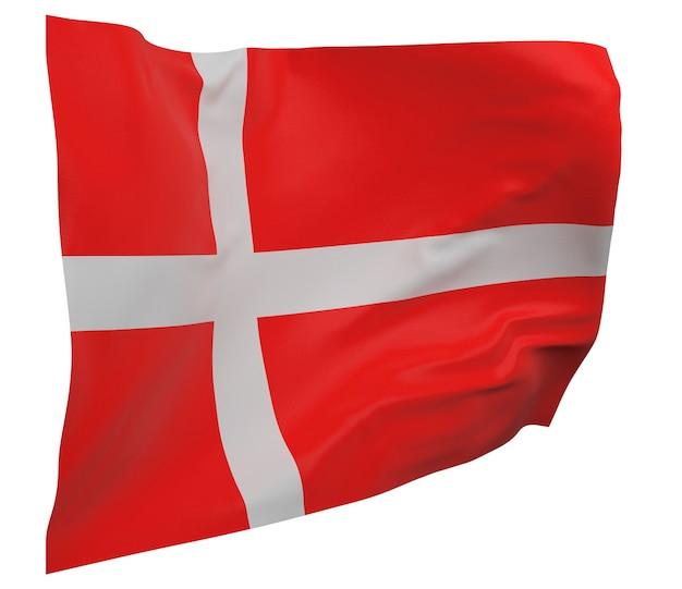 Flaga danii na białym tle. macha sztandarem. flaga narodowa danii