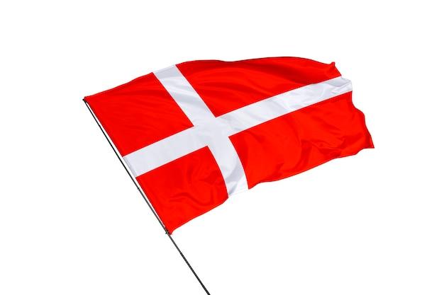 Flaga danii na białym tle