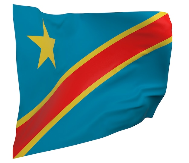 Flaga demokratycznej republiki konga na białym tle. macha sztandarem. flaga narodowa demokratycznej republiki konga