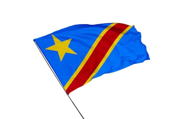 Flaga demokratycznej republiki konga na białym tle
