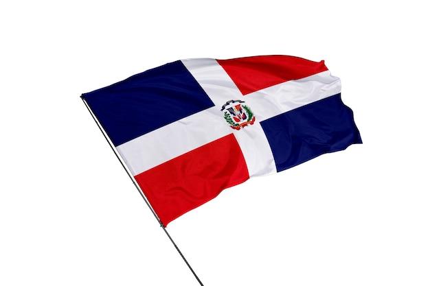 Flaga dominikany na białym tle