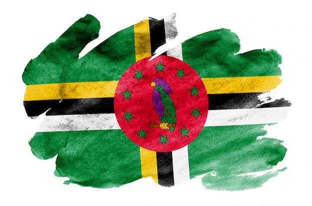 Flaga dominiki jest przedstawiona w płynnym stylu akwareli na białym tle