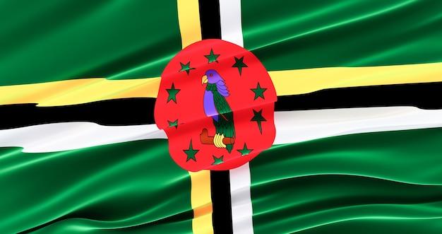 Flaga dominiki na dzień pamięci, machająca flaga dominiki, dzień niepodległości.