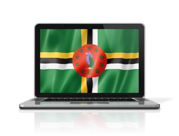 Flaga dominiki na ekranie laptopa na białym tle. renderowanie 3d ilustracji.