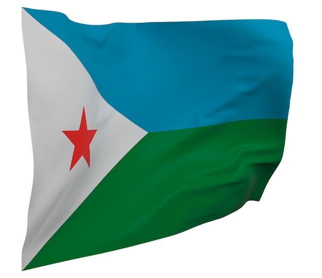 Flaga dżibuti na białym tle. macha sztandarem. flaga narodowa dżibuti