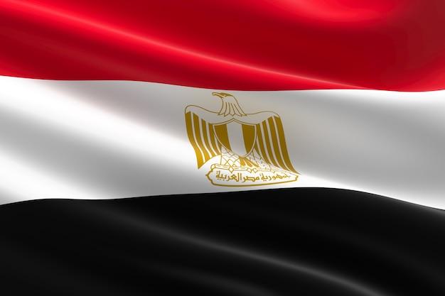 Flaga egiptu. 3d ilustracja macha flagą egipską.