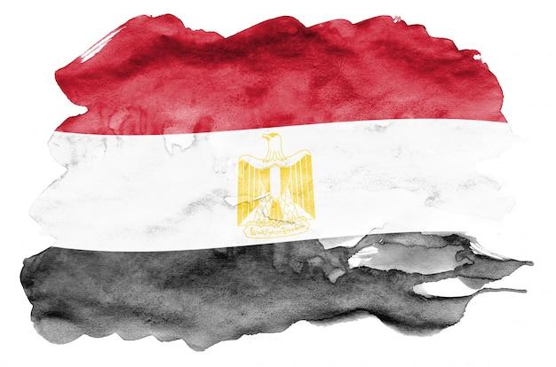Flaga egiptu jest przedstawiona w płynnym stylu akwareli na białym tle