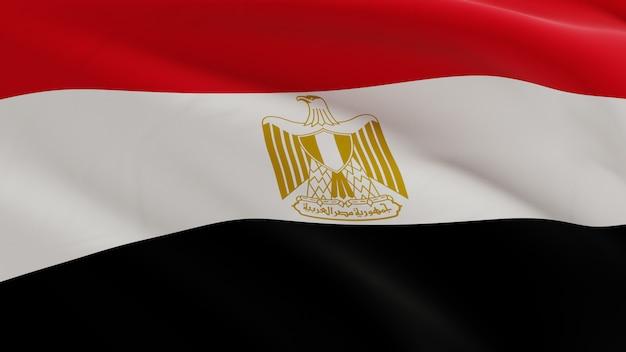 Flaga egiptu macha na wietrze, tkaniny mikro tekstury w jakości renderowania 3d