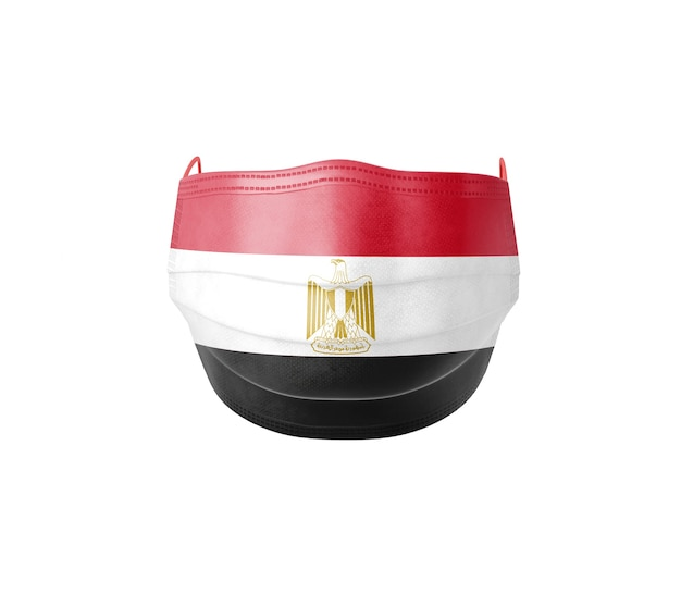Flaga egiptu na masce chirurgicznej na białym tle