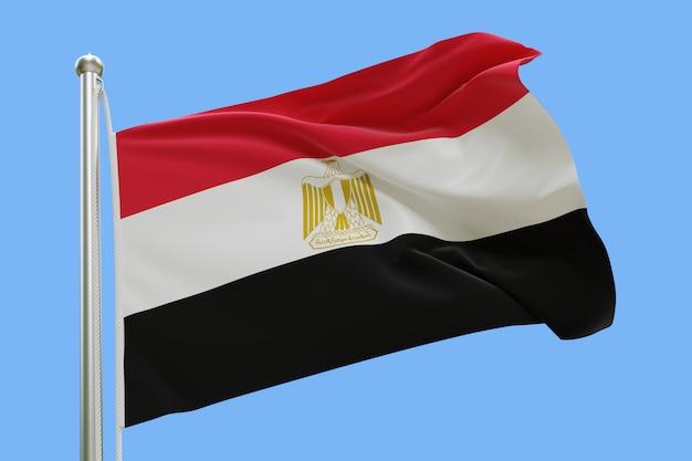 Flaga egiptu na masztem macha na wietrze na białym tle na niebieskim tle