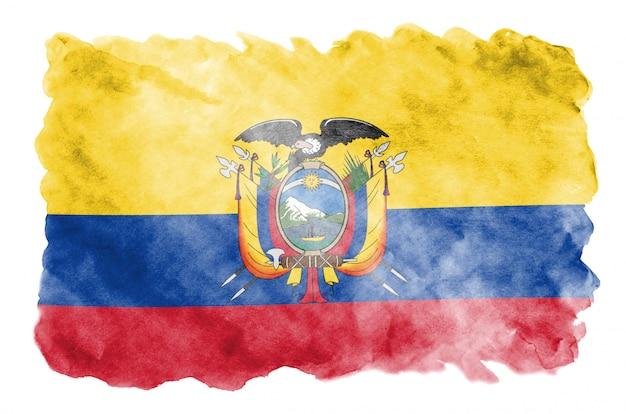 Flaga ekwadoru jest przedstawiona w płynnym stylu akwareli na białym tle