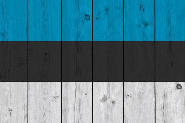 Flaga estonii malowane na starej desce
