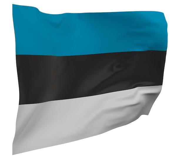 Flaga estonii na białym tle. macha sztandarem. flaga narodowa estonii