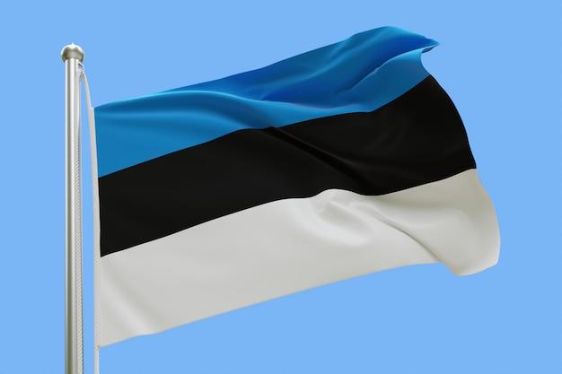 Flaga estonii na masztem macha na wietrze. pojedynczo na niebieskim niebie