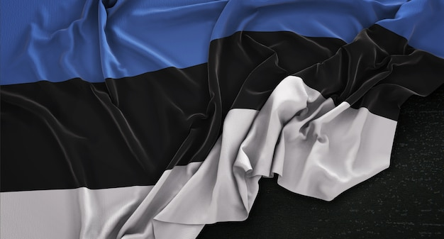 Flaga estonii zgnieciony na ciemnym tle renderowania 3d