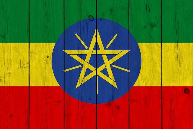 Flaga etiopii malowane na starej desce