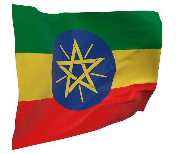 Flaga etiopii na białym tle. macha sztandarem. flaga narodowa etiopii