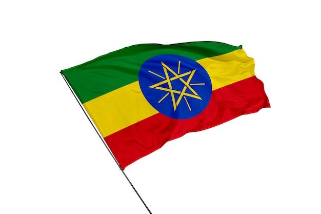 Flaga etiopii na białym tle
