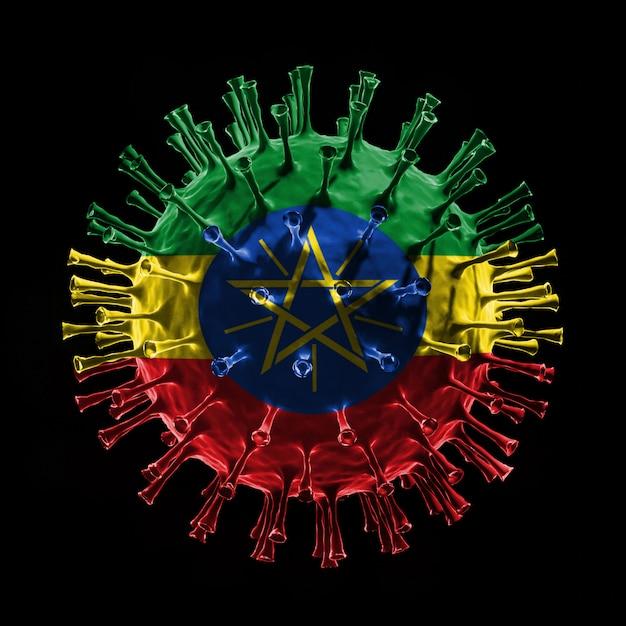 Flaga etiopii na covid-19 to koncepcja wirusa. renderowanie 3d