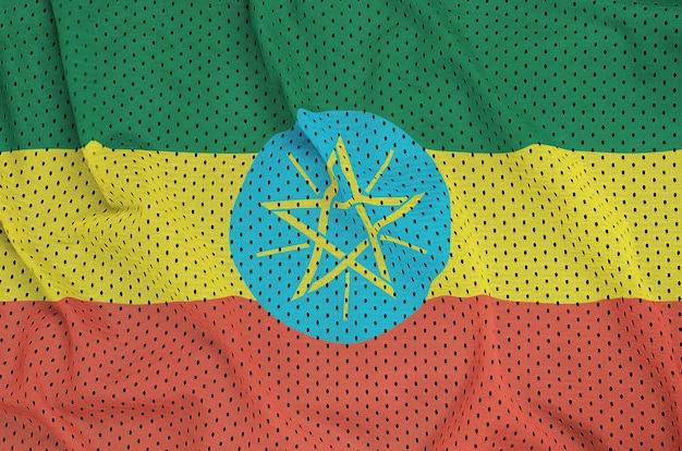 Flaga etiopii nadrukowana na nylonowej siatce odzieży sportowej z poliestru