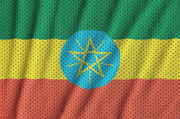 Flaga etiopii nadrukowana na siatkowej nylonowej tkaninie sportowej