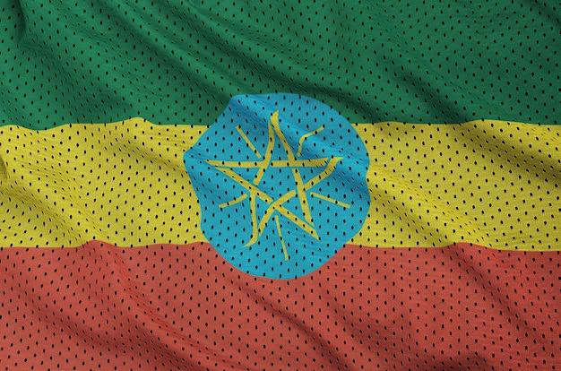 Flaga etiopii wydrukowana na nylonowej siatce z poliestru