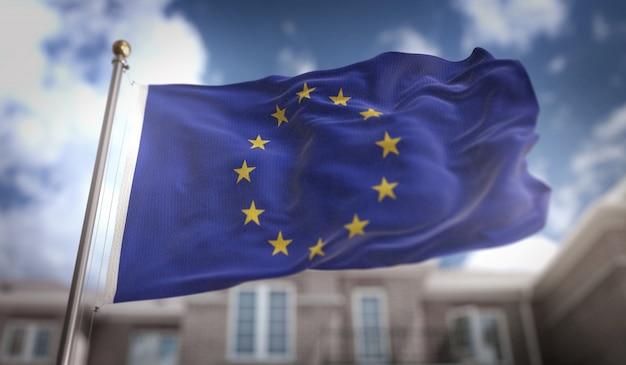 Flaga europejska renderowania 3d na tle błękitne niebo budynku
