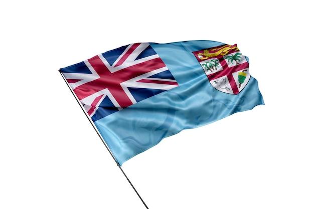Flaga fidżi na białym tle