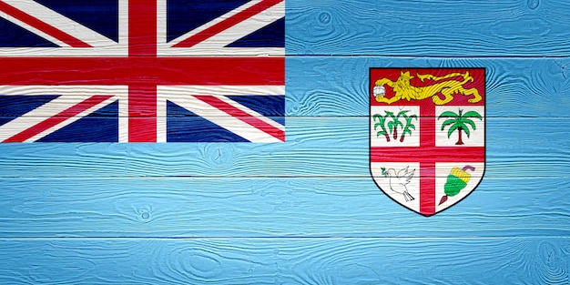 Flaga fidżi namalowana na drewnianych deskach
