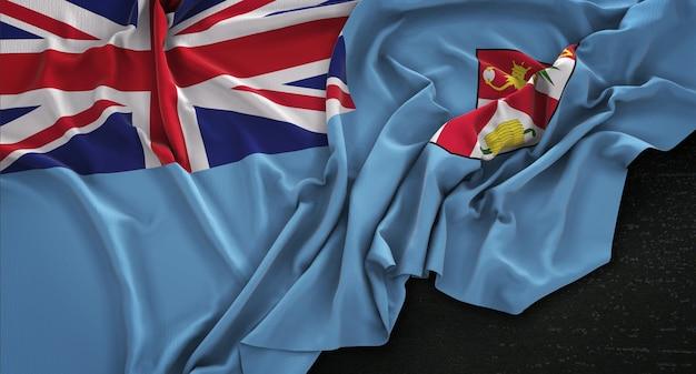 Flaga fidżi pomarszczony na ciemnym tle renderowania 3d