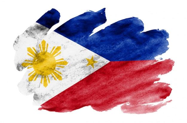 Flaga filipin jest przedstawiona w płynnym stylu akwareli na białym tle