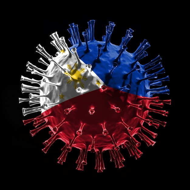 Flaga filipin na covid-19 to koncepcja wirusa. renderowanie 3d