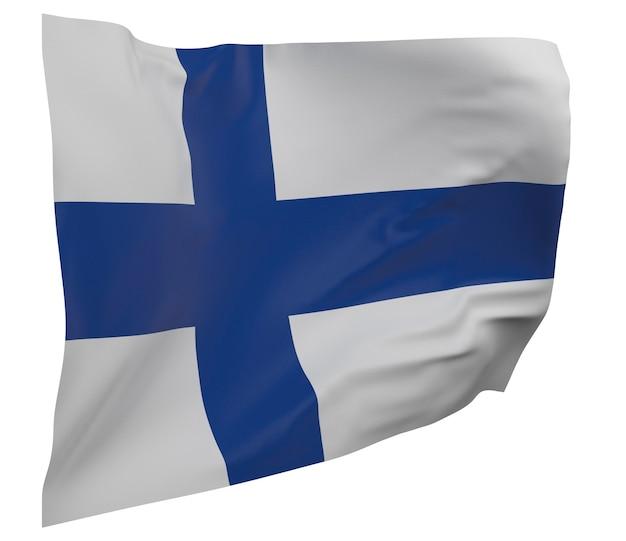 Flaga finlandii na białym tle. macha sztandarem. flaga narodowa finlandii