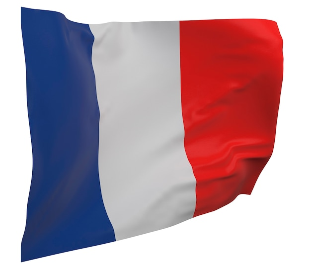 Flaga francji na białym tle. macha sztandarem. flaga narodowa francji