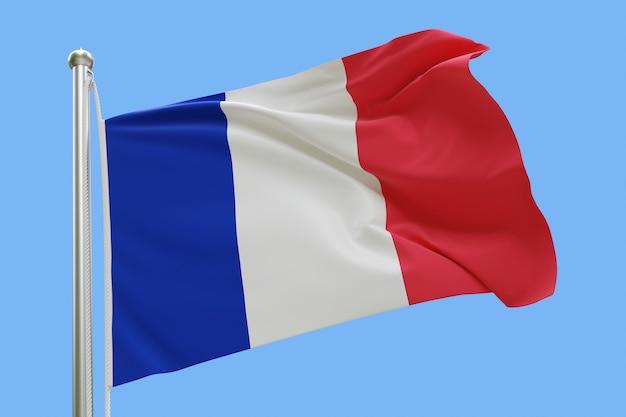 Flaga francji na masztem macha na wietrze. pojedynczo na niebieskim niebie