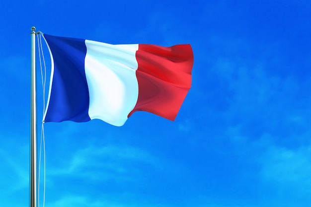 Flaga francji na tle nieba