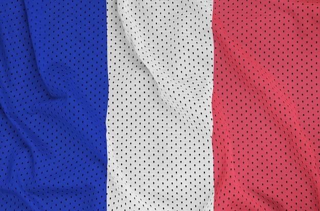 Flaga francji wydrukowana na nylonowej siatce odzieży sportowej z poliestru