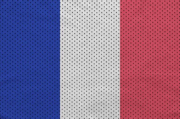 Flaga francji wydrukowana na nylonowej siatce odzieży sportowej